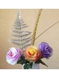 3 шт. Букет роз ручной работы. Цветной капрон