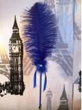 А-5. Синий цвет. Ручка из пера страуса