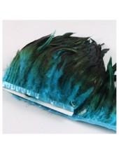 1 м. 2-х цветное. Голубой цвет. Тесьма. Перья петуха на ленте 14-19 см