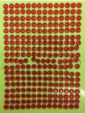 1 шт. Красный цвет. Наклейки со стразами 6 мм. 9 х 13 см.