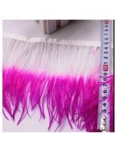 1 м. Фуксия с белым цвет. Тесьма из перьев страуса. 2-х цветная