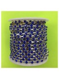 № 16. 1 м. Синий в серебре цвет. Стразы на цепочке.