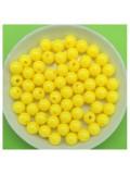 50 гр. Желтый цвет. Цветные бусинки 6 мм. Круглые. Пришивные. № 2