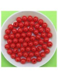 50 гр. Красный цвет. Цветные бусинки 6 мм. Круглые. Пришивные. № 4
