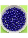 50 гр. Синий с перламутром цвет. Цветные бусинки 6 мм. Круглые. Пришивные. № 7