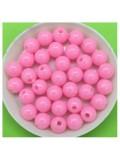 50 гр. Розовый цвет. Цветные бусинки 8 мм. Круглые. Пришивные. № 3