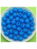 50 гр. Голубой цвет. Цветные бусинки 8 мм. Круглые. Пришивные. № 6