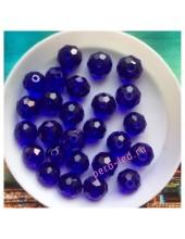 70 шт. Синий прозрачный цвет. Бусинки круглые с огранкой стеклярус. 8 мм. № 4