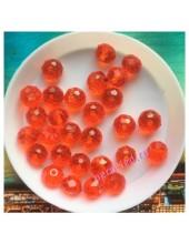 70 шт. Красный прозрачный цвет. Бусинки круглые с огранкой стеклярус. 8 мм. № 7