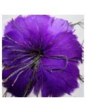 1 шт. Фиолетовый цвет. Цветок из перьев птиц
