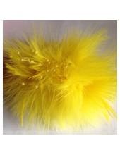 УУ-2. Желтый цвет. Заколки из перьев птиц для волос и броши