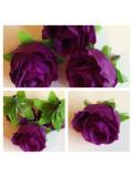 1515. Фиолетовый цвет. Цветные головки роз 4 см