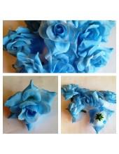 357. Голубой цвет. Розы головки. Искусственные цветы