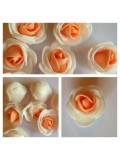 2121. Белый-оранжевый цвет. Цветные головки роз 3 см