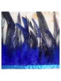 1 м. Синий цвет. Тесьма из перьев 14-19 см