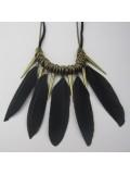 0948. Черный цвет. Подвеска с перьями птиц