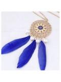 0932. Синий цвет. Подвеска из перьев птиц