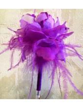 З-1. 1 шт. Фиолетовый цвет. Ручка из пера страуса