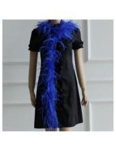 2 м. Синий цвет. Шарф. Тесьма из перьев страуса