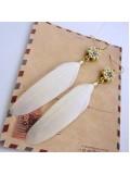 136. Белый цвет. Серьги из перьев птиц