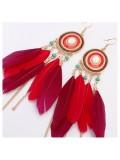 144. Красный цвет. Серьги из перьев