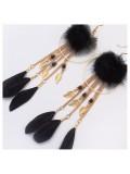 153. Черный цвет. Серьги с перьями