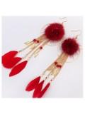 154. Красный цвет. Серьги с перьями
