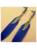 14. Синий цвет. Серьги из перьев