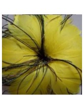 1 шт. Желтый цвет. Цветок из перьев птиц
