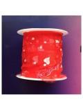 2 м. Красный цвет. Лента капроновая с сердечками 2.5 см