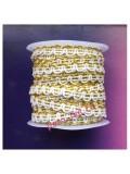 2 м. Белый с золотом цвет. Тесьма ажурная 0.7 см
