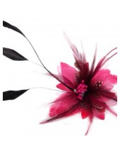 СС-10. Фуксия цвет. Заколки из перьев птиц для волос и броши