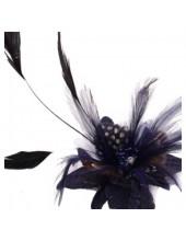 СС-3. Темно-синий цвет. Заколки из перьев птиц для волос и броши