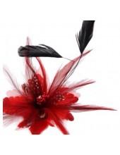 СС-1. Красный цвет. Заколки из перьев птиц для волос и броши