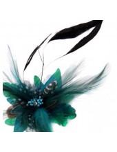 СС-7. Нефрит цвет. Заколки из перьев птиц для волос и броши