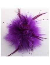 УУ-8. Фиолетовый цвет. Заколки из перьев птиц для волос и броши