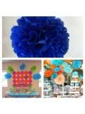 1 шт. Синий цвет. Бумажные цветы. Пионы. Объем цветка 20 см