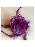 ЕЕ-3. Фиолетовый цвет. Заколки с перьями птиц и броши