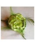 ЕЕ-4. Зеленый цвет. Заколки с перьями птиц и броши