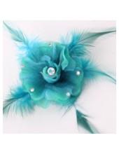 НН-1. Морская волна цвет. Заколки с перьями птиц и броши