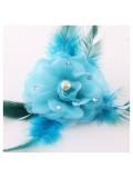 НН-4. Голубой цвет. Заколки с перьями птиц и броши