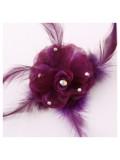 НН-5. Фиолетовый цвет. Заколки с перьями птиц и броши