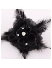 НН-6. Черный цвет. Заколки с перьями птиц и броши