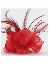 ОО-5. Красный цвет. Заколки с перьями птиц и броши
