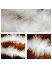1 шт. Белый цвет. Боа тесьма из перьев марабу 6-7 см