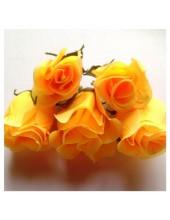 1 шт. Оранжевые цвет. Розы головки. Искусственные цветы 6-7 см.