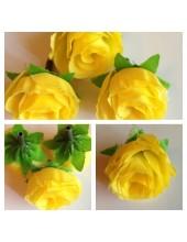 1515. 1 шт. Желтый цвет. Цветные головки роз 4 см.