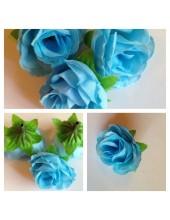 1515. 1 шт. Голубой цвет. Цветные головки роз 4 см.