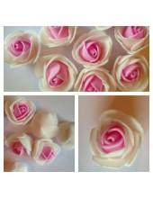 2121. 1 шт. Белый-розовый.  2-х цветные головки роз 3 см.