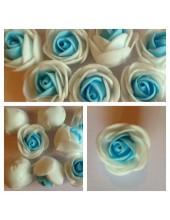2121. 1 шт. Белый-голубой цвет.  2-х цветные головки роз 3 см.